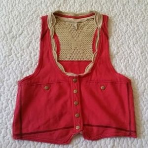 Free People Crochet Back Snap Front Vest